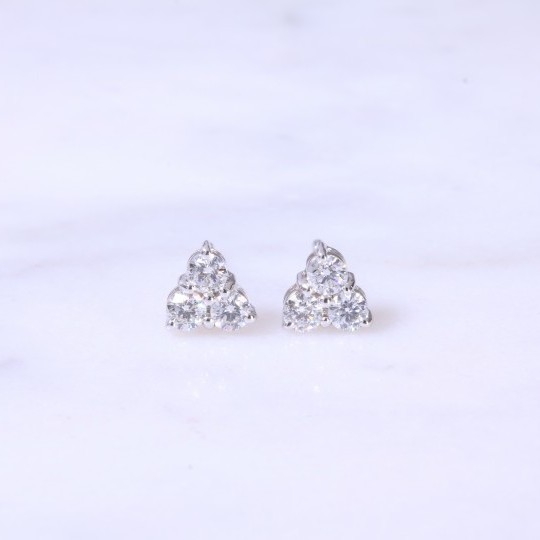 Trefoil Diamond Ear Studs