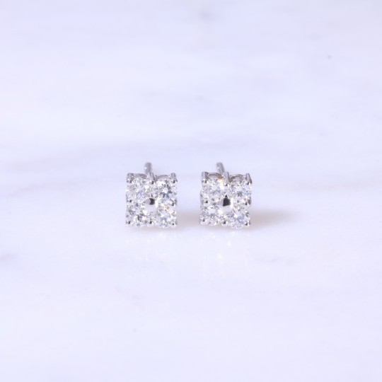 Round brilliant diamond Square Ear Studs