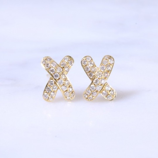 Diamond Cross Ear Studs 0.42ct