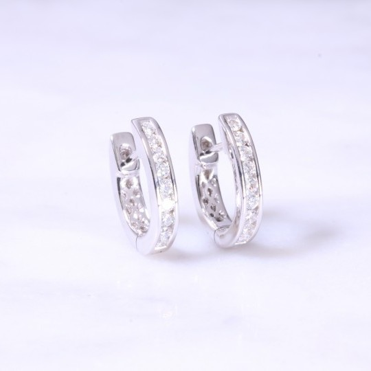 Diamond Channel Set Huggie Hoop earrings Small