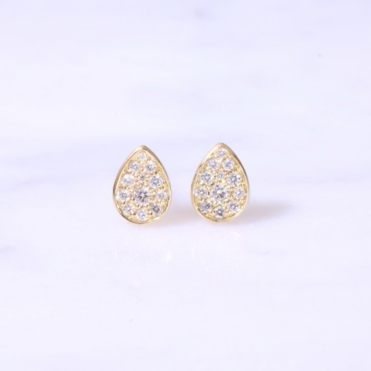 Tear Drop Diamond Ear Studs