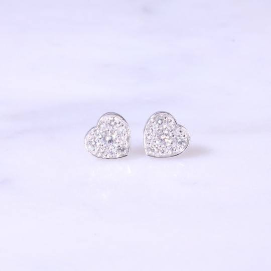 Heart Button Diamond Ear Studs