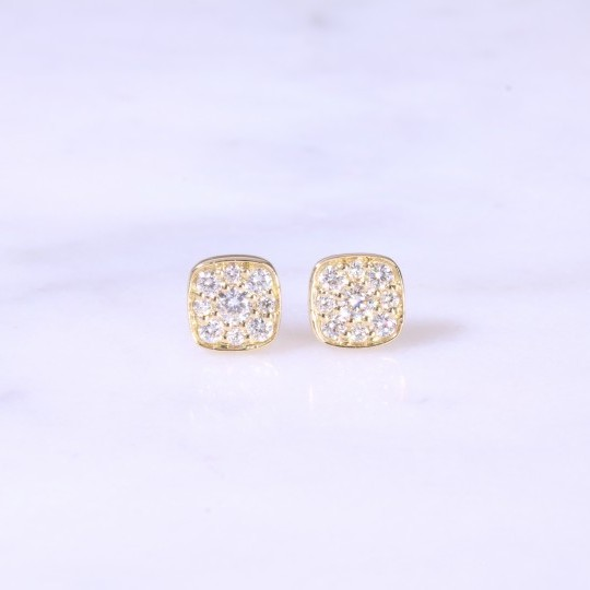 Cushion Button Diamond Ear Studs