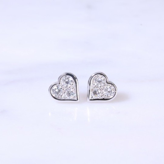 Diamond Heart Ear Studs
