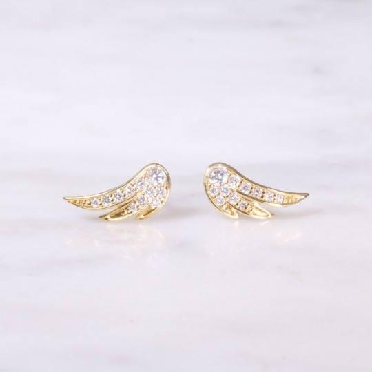 Yellow Gold Feather Diamond Earrings
