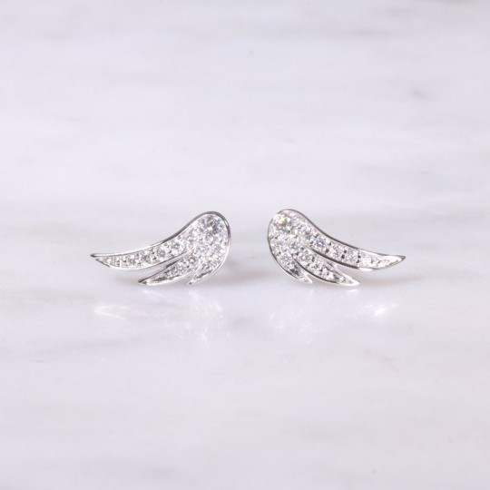 White Gold Diamond Feather Earrings
