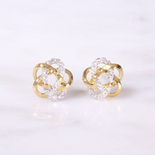 Yellow Gold & Round Brilliant Diamond Knot Earrings