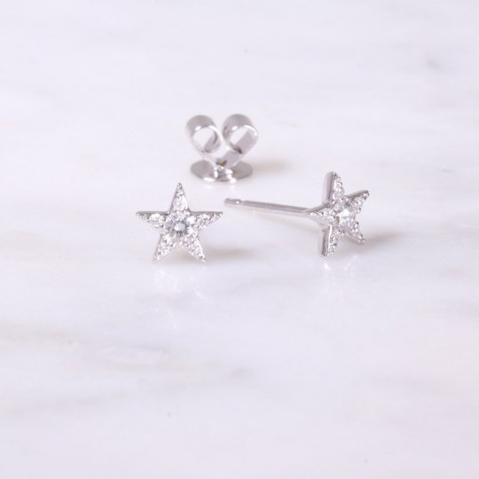 Diamond Star Earrings 18ct white gold