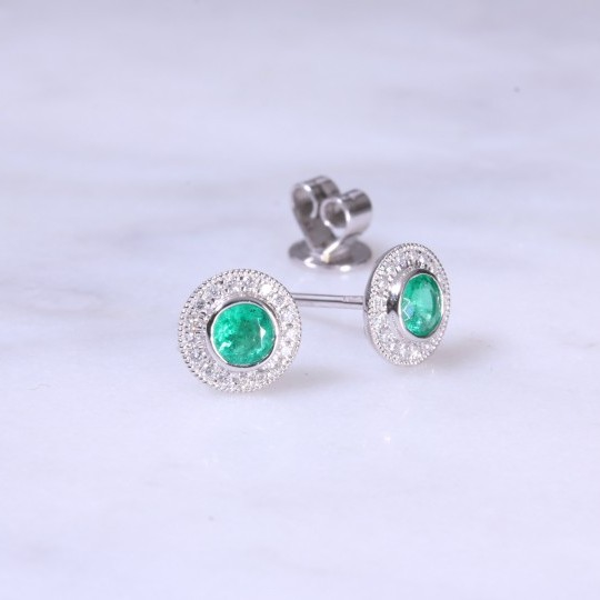 Round Emerald & Diamond Ear studs