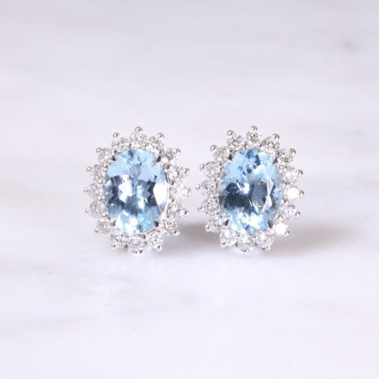 Aquamarine & Diamond Oval Cluster Earrings