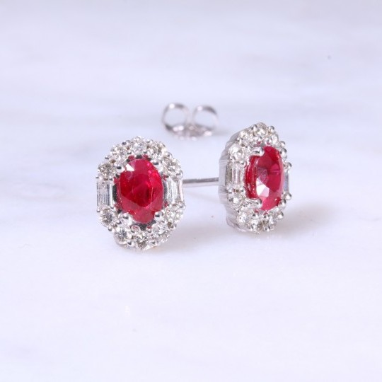 Oval Ruby & Fancy diamond Ear Studs