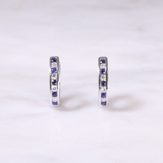 Sapphire & Diamond Huggie Hoop Earrings