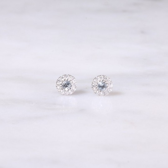 Petite Aquamarine and Diamond Halo Ear Studs