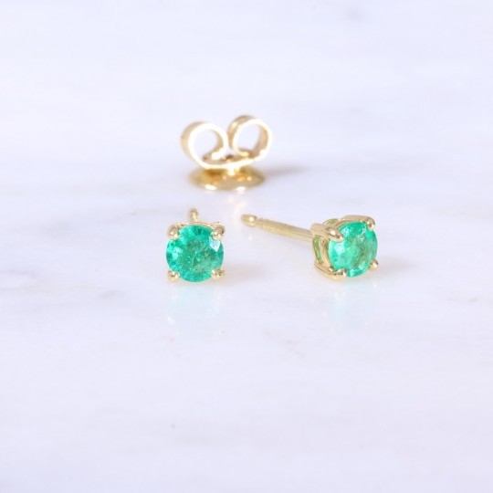 Single Stone Emerald Ear Studs
