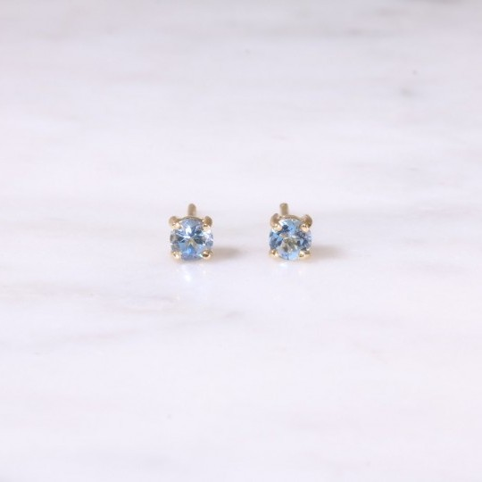 Single Stone Aquamarine Earrings