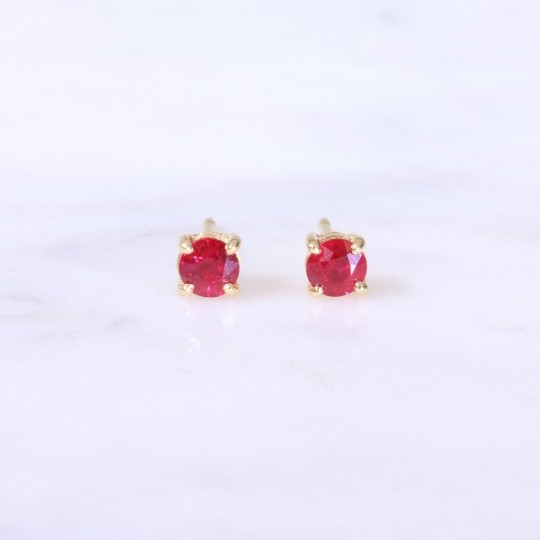 Single Stone Ruby Ear Studs