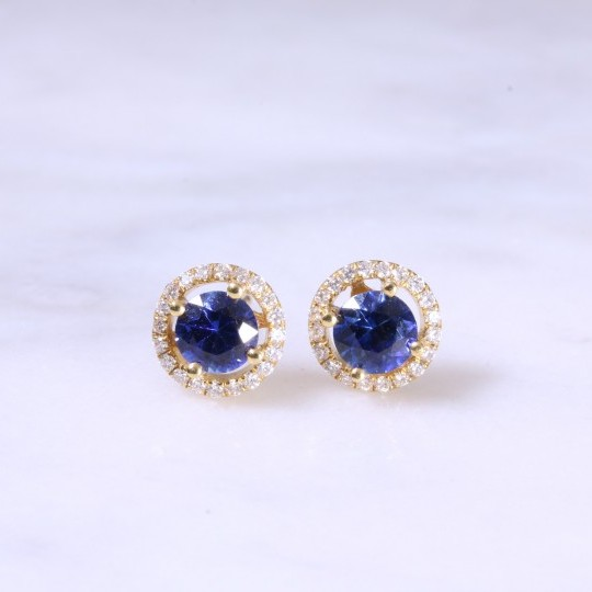 Round Sapphire & Diamond Halo Earrings
