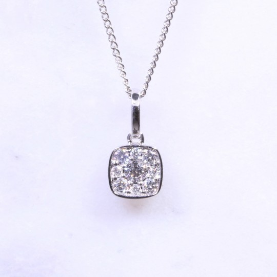 Round Brilliant Diamond Cushion Cluster Necklace