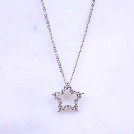 Round Brilliant Diamond Open Star Design Necklace