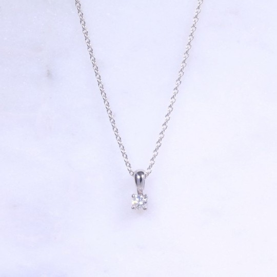 Round Brilliant Diamond Solitaire Necklace 0.10ct