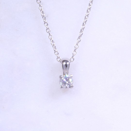 Round Brilliant Diamond Solitaire Necklace 0.20ct