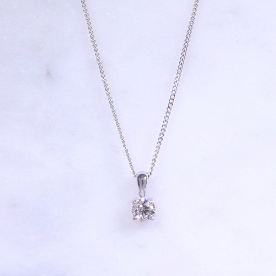 Round Brilliant Diamond Solitaire Necklace 0.40ct
