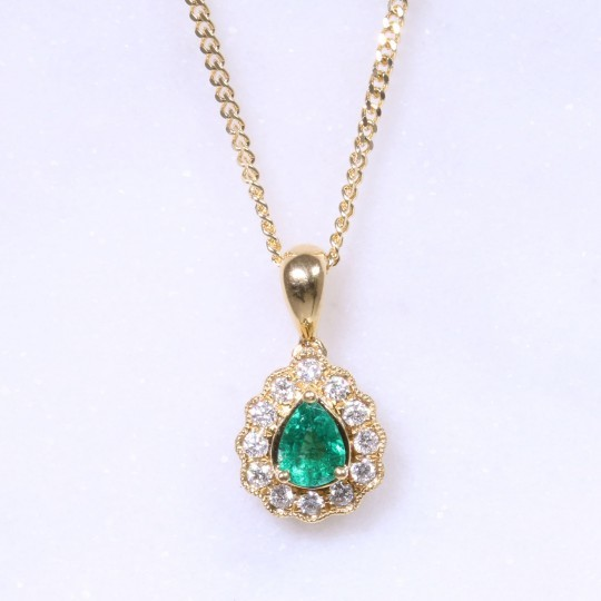 Emerald & Diamond Pear Pendant