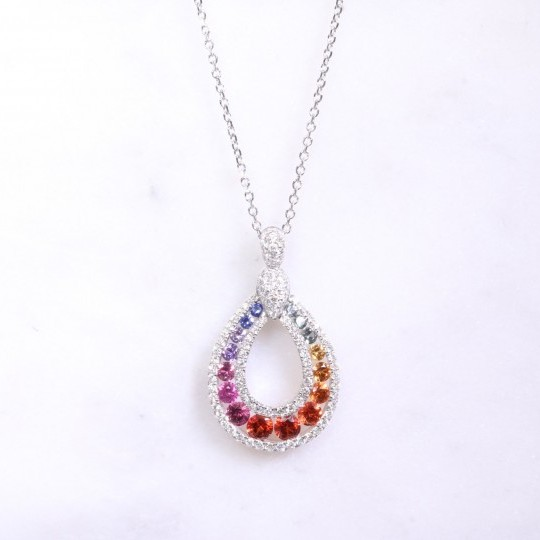 Multi Coloured Sapphire & Diamond Necklace