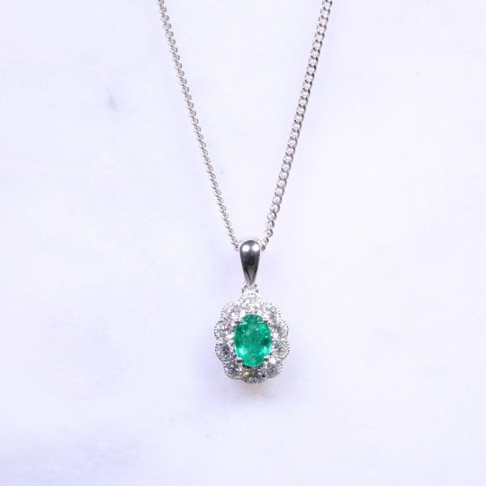 Oval Emerald & Diamond Milgrain Cluster Necklace