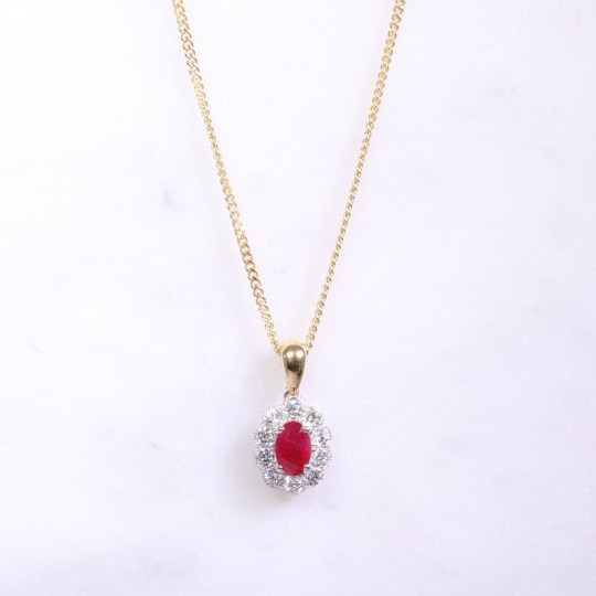Oval Ruby & Diamond Cluster Necklace
