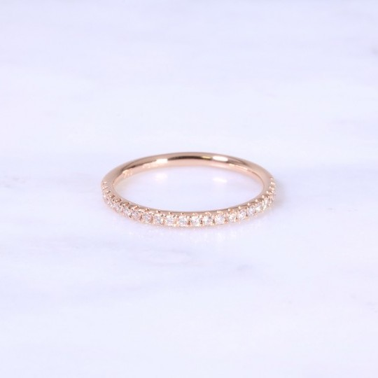 Micro Claw Set Diamond Half Eternity Ring 1.8mm