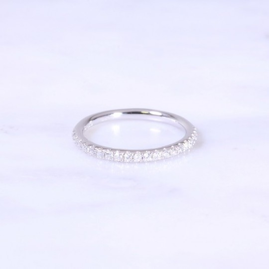 Micro Claw Set Diamond Half Eternity Ring 2mm