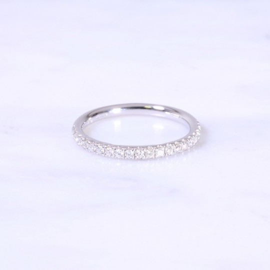 Micro Claw Set Diamond Half Eternity Ring 2.2mm