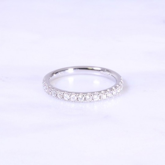 Micro Claw Set Diamond Half Eternity Ring 2.5mm