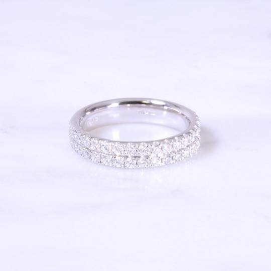 2 Row Diamond Half Eternity Ring 4mm