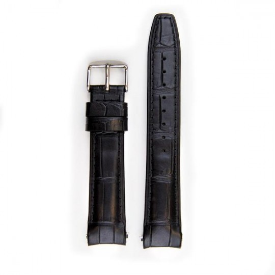 Everest Curved End Leather Strap In Black