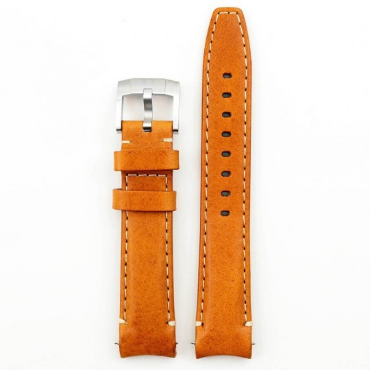 Everest Curved End Leather Strap In Tan