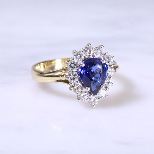 Pre-Owned Pear Sapphire & Diamond Cluster Ring