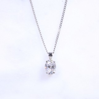 Solitaire Oval Diamond Pendant