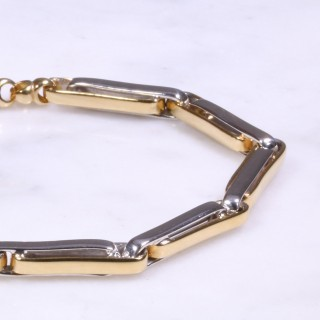 Mixed Gold Heavy Bar Link Bracelet
