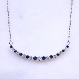 Sapphire & Diamond Graduated Crecent Necklace
