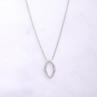White Gold Diamond Marquise Necklace