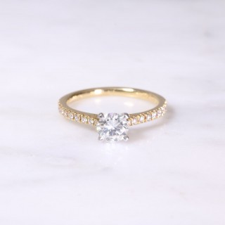 Yellow & white Gold Diamond Engagement Ring
