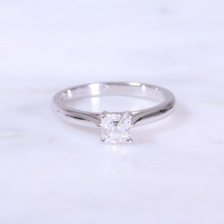 Asscher Cut Diamond Solitaire Engagement Ring