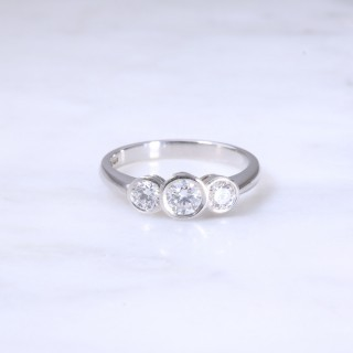 Lanes Round Brilliant Diamond  Rub-Over Set 3 Stone Ring