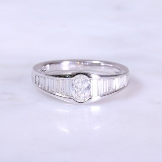 Oval and Baguette Diamond Channel Set Ring