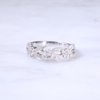Floral Diamond Set Leaf Ring