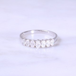 Claw Set 7 Stone Oval Diamond Half Eternity Ring
