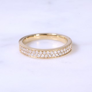 Round brilliant diamond 2 row 1/2 eternity ring
