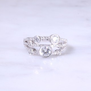 3 Row Multi Diamond Dot Ring